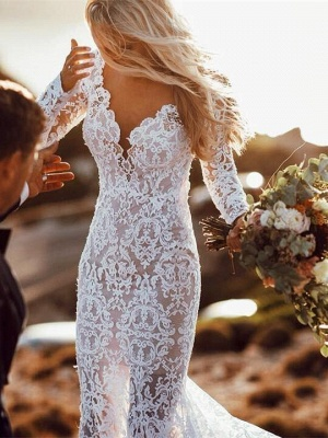 Long Sleeve Floral Lace Backless Mermaid Wedding Dresses