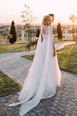 A Line  Chiffon Cap Sleeves Boho Beach Wedding Dress Beaded Simple Dress for Bride