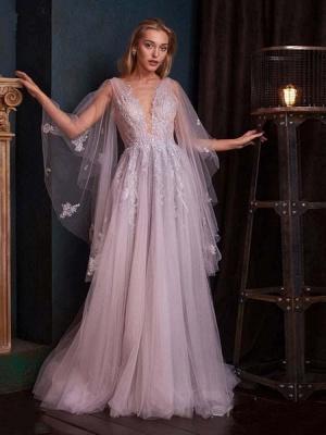 Romantic Deep V-Neck Aline Wedding Dress with Sweep Wrap