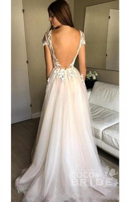 Sexy Cap Sleeve Deep V-neck With Appliques Split Tulle Wedding Dress_2