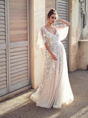 V Neck Half Sleeve Lace Boho Wedding Dresses