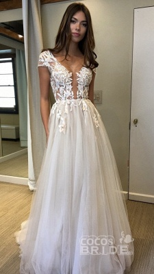 Sexy Cap Sleeve Deep V-neck With Appliques Split Tulle Wedding Dress_4