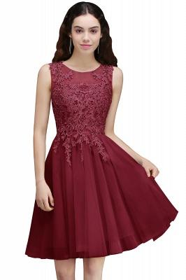 Una línea de vestido corto de regreso a casa | moderno con apliques de encaje_2