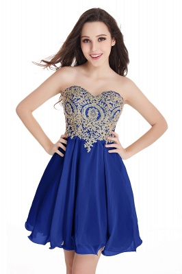 CYNTHIA | Quinceanera Strapless Short Chiffon Dama Dresses with Beadings_7