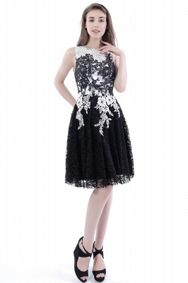 DAHLIA | Short Sheath Sleeveless Black Lace Quince Dama Dresses_6