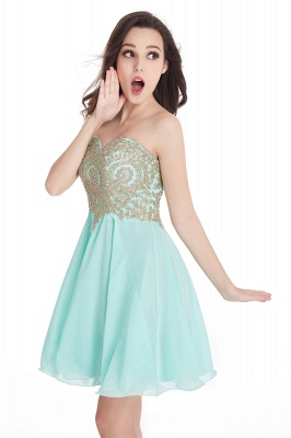 CYNTHIA | Quinceanera Strapless Short Chiffon Dama Dresses with Beadings_12