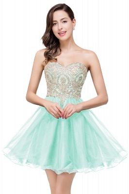 Una línea de encaje vestidos de baile | con apliques cari_o corto_5