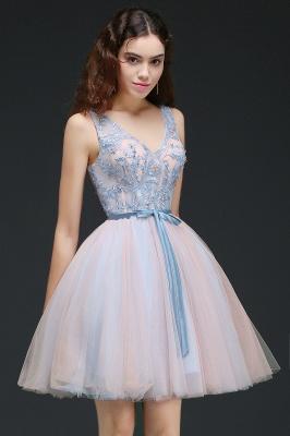 Vestido de regreso a casa azul cielo princesa | con cuello en V hasta la rodilla con un cinturón de auto-atadura_4