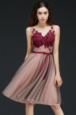 Vestido de fiesta de tul de princesa con cuello en V |  hasta la rodilla con cinturón de amarre_1