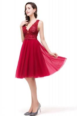 EVIE | Quinceanera Deep-V Neck Sleeveless Short Dama Dresses with Appliques_8