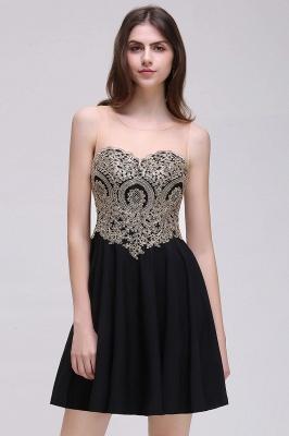 CAITLIN | Quinceanera Short Chiffon Black Dama Dresses with Appliques_8