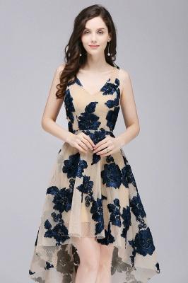 COCO | Short Appliques Tulle V Neck Quince Dama Dresses_6