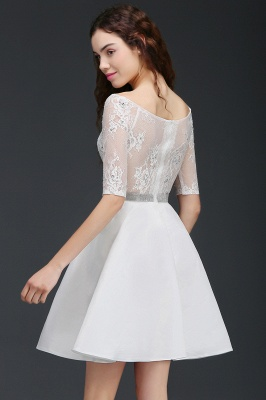 ALICIA | A Line Jewel White Short Sleeve Satin Quince Dama Dresses With Lace_5