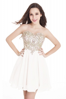 CYNTHIA | Quinceanera Strapless Short Chiffon Dama Dresses with Beadings_1