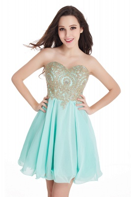 CYNTHIA | Quinceanera Strapless Short Chiffon Dama Dresses with Beadings_10