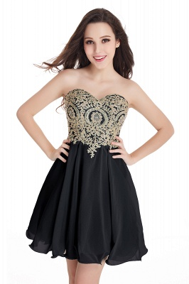 CYNTHIA | Quinceanera Strapless Short Chiffon Dama Dresses with Beadings_9