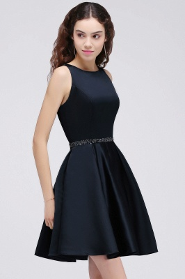 A-Linea cuello redondo vestido de regreso al hogar | con cristal corto oscuro marino elegante_4