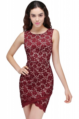 BRILEY | Bodycon Round Neck Short Lace Burgundy Quince Dama Dresses_1