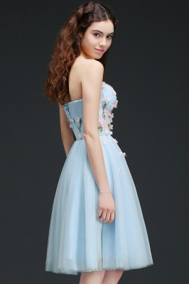 CLEMENTINE | Princess Sweetheart Knee-length Sky Blue Quince Dama Dress with Lace-up Back_6
