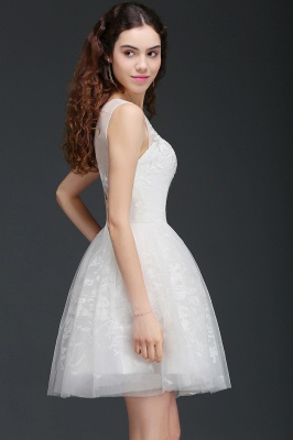ALEXANDRIA | A Line Sheer Whit Short Tulle Dama Dresses With Lace_6