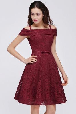 vestidos de fiesta de borgo_a | Una línea de espagueti correas de encaje corto_4