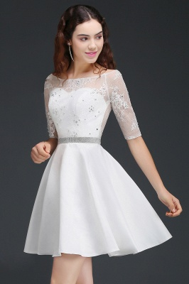 ALICIA | A Line Jewel White Short Sleeve Satin Quince Dama Dresses With Lace_4