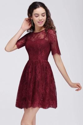 BRITTANY | Quinceanera Round Neck Short Lace Burgundy Dama Dresses_5