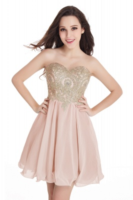 CYNTHIA | Quinceanera Strapless Short Chiffon Dama Dresses with Beadings_2