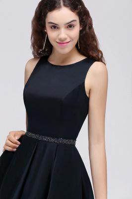 A-Linea cuello redondo vestido de regreso al hogar | con cristal corto oscuro marino elegante_7