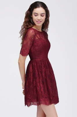 BRITTANY | Quinceanera Round Neck Short Lace Burgundy Dama Dresses_4