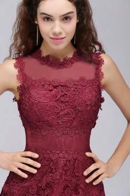 BRIA | Quinceanera Round Neck Short Burgundy Lace Dama Dresses_6