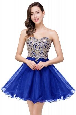 Una línea de encaje vestidos de baile | con apliques cari_o corto_4