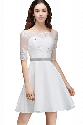 ALICIA | A Line Jewel White Short Sleeve Satin Quince Dama Dresses With Lace_6