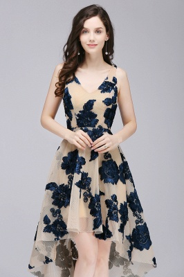 COCO | Short Appliques Tulle V Neck Quince Dama Dresses_2