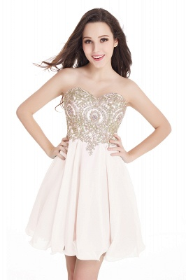 CYNTHIA | Quinceanera Strapless Short Chiffon Dama Dresses with Beadings_4