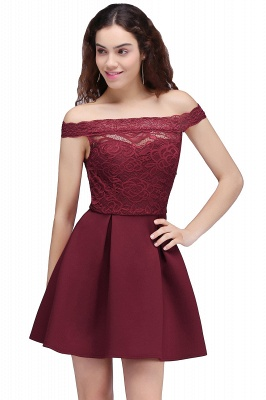 BROOKLYN | Quinceanera Off-the-shoulder Short Lace Burgundy Dama Dresses_1