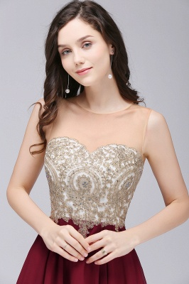 ALIANNA | Sheath Jewel Chiffon Short 15 Quince Dresses With Applique_6