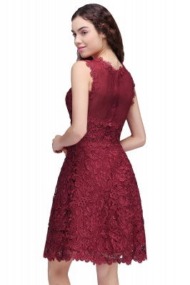 BRIA | Quinceanera Round Neck Short Burgundy Lace Dama Dresses_3