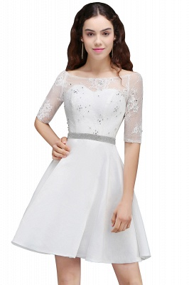 ALICIA | A Line Jewel White Short Sleeve Satin Quince Dama Dresses With Lace_7