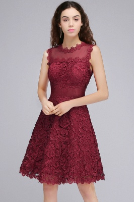 BRIA | Quinceanera Round Neck Short Burgundy Lace Dama Dresses_4