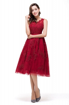 DANA | Quinceanera Knee-Length Red Lace Tull Dama Dresses with sequins_6