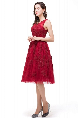 DANA | Quinceanera Knee-Length Red Lace Tull Dama Dresses with sequins_5