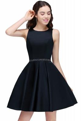 A-Linea cuello redondo vestido de regreso al hogar | con cristal corto oscuro marino elegante_1
