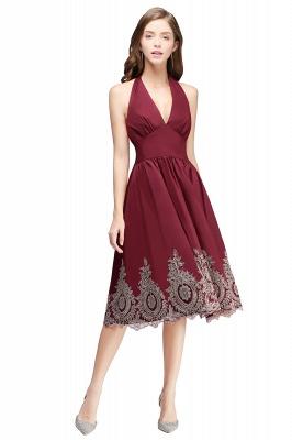 Simple vestidos de cóctel corte | cuello colgando burdeos_1