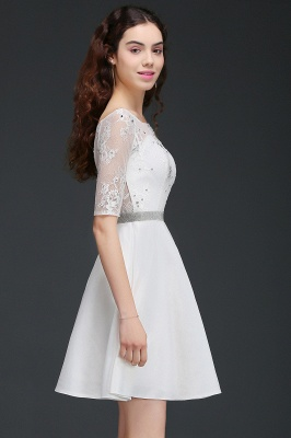 ALICIA | A Line Jewel White Short Sleeve Satin Quince Dama Dresses With Lace_3