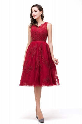 DANA | Quinceanera Knee-Length Red Lace Tull Dama Dresses with sequins_7