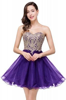 Una línea de encaje vestidos de baile | con apliques cari_o corto_2