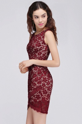 BRILEY | Bodycon Round Neck Short Lace Burgundy Quince Dama Dresses_5