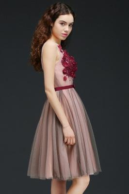 Vestido de fiesta de tul de princesa con cuello en V |  hasta la rodilla con cinturón de amarre_7