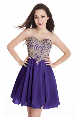 CYNTHIA | Quinceanera Strapless Short Chiffon Dama Dresses with Beadings_5